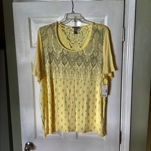 New 2X pretty yellow stretchy tunic top Catherines